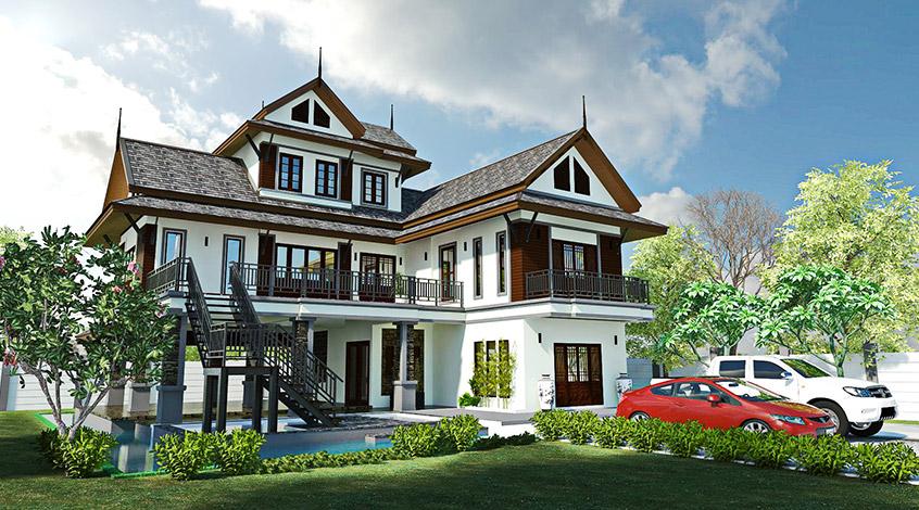 บ้านทรงไทยประยุกต์ความร่วมสมัยที่ลงตัว